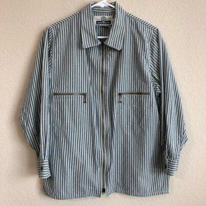 Blue Willi's Jacket Zip Up Pinstripe Trendy Retro